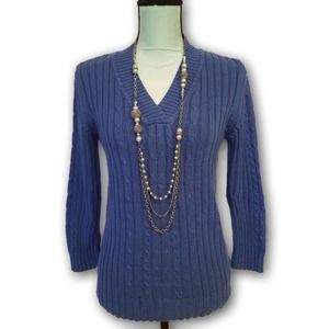 Faded Glory Cable Knitted Pullover Sweater Blue L